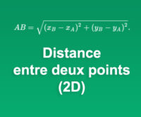 Calculatrice de Distance entre deux points (2D)